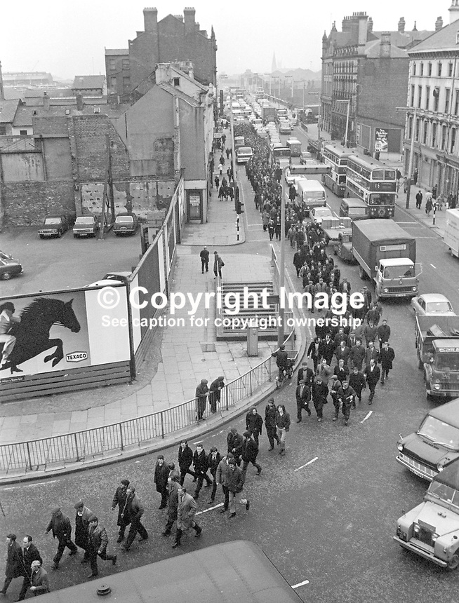 Shipyard workers march to Ulster Unionist Party headquarters in Glengall Street, Belfast, N Ireland, UK, to protest at the government's law and order policy following the Provisional IRA murder of three Scottish soldiers, two of whom were brothers, Private John McCaig, 17 years, and Joseph McCaig, 18 years, and their friend, Dougald McCaughey, 23 years. They were all members of the Royal Highland Fusiliers. 197103120164<br /> <br /> Copyright Image from Victor Patterson, 54 Dorchester Park, Belfast, UK, BT9 6RJ<br /> <br /> t: +44 28 90661296<br /> m: +44 7802 353836<br /> vm: +44 20 88167153<br /> e1: victorpatterson@me.com<br /> e2: victorpatterson@gmail.com<br /> <br /> For my Terms and Conditions of Use go to www.victorpatterson.com