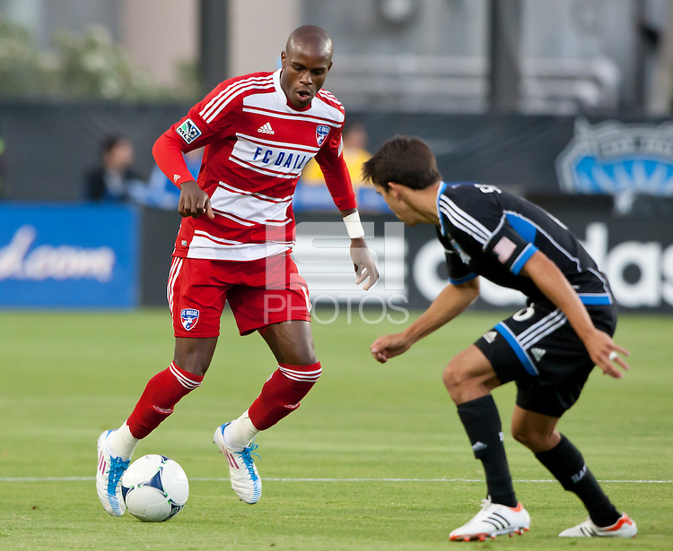 Santa Clara, California - Saturday July 18, 2012: FC Dallas' Jackson Goncalves controls the ball during a game against San Jose Earthquakes at Buck Shaw Stadium, Stanford, Ca   San Jose Earthquakes defeated FC Dallas 2 - 1.