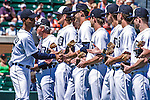 14 March 2014: A group of Detroit Tiger Minor Leaguers are given honors and trophies prior to a Spring Training Game against the Washington Nationals at Joker Marchant Stadium in Lakeland, Florida. The Tigers defeated the Nationals 12-6 in Grapefruit League play. Mandatory Credit: Ed Wolfstein Photo *** RAW (NEF) Image File Available ***