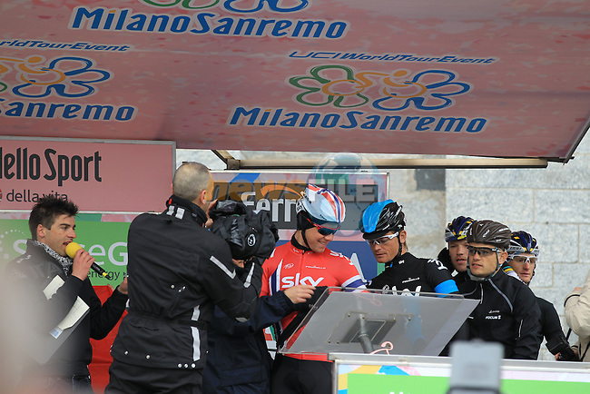 Norweigan National Champion Edvald Boasson Hagen (NOR) and Vasil Kiryienka (BLR) Sky Procycling at the sign on before the start of the 104th edition of the Milan-San Remo cycle race at Castello Sforzesco in Milan, 17th March 2013 (Photo by Eoin Clarke 2013)