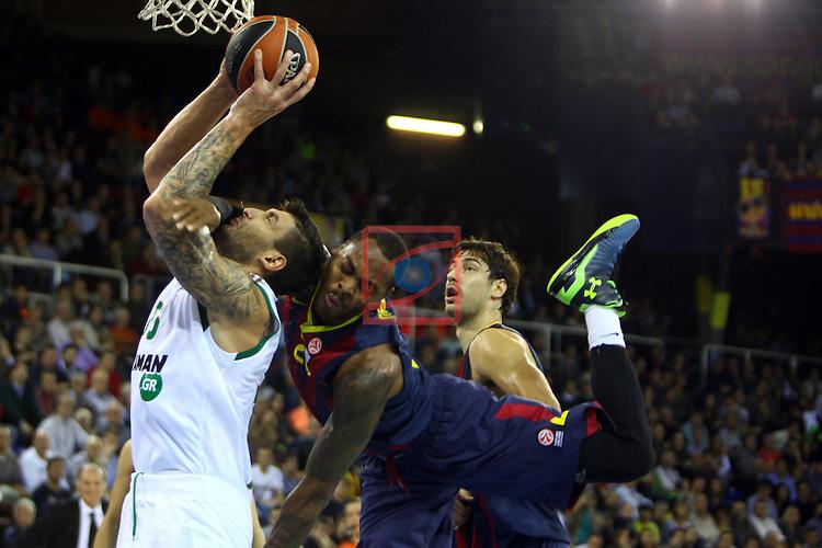 Euroleague Basketball-Regular Season Round 5.<br /> FC Barcelona vs Panathinaikos Athens: 78-69.<br /> Esteban Batista vs Deshaun Thomas.