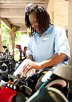 Catherine Baxter (cq) works in several departments at the Four Seasons Resort and Spa including laundry attendant, valet, golf and cafeteria in Irving, Texas, Sunday, May 2, 2010. Baxter is one of many employees willing to work in a recent cross training program designed to have employees work in multiple departments as a money saving plan. Four Seasons couldn't abstain from cost cutting in this downturn as it had in previous recessions because the worst hotel market in decades left the company last year with a 26% decline in revenue per available room in the U.S. Similarly, its occupancy fell to 57% from its usual perch above 70%...CREDIT: Matt Nager for The Wall Street Journal