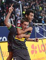 FUSSBALL   1. BUNDESLIGA  SAISON 2012/2013   13. Spieltag FC Augsburg - Borussia Moenchengladbach           25.11.2012 Jubel nach dem Tor zum 1:1 Patrick Herrmann oben auf Juan Arango (Borussia Moenchengladbach)