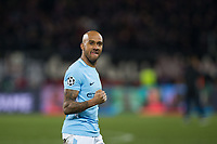 Manchester City's Fabian Delph celebrates at the final whistle <br /> <br /> Photographer Craig Mercer/CameraSport<br /> <br /> UEFA Champions League Round of 16 First Leg - Basel v Manchester City - Tuesday 13th February 2018 - St Jakob-Park - Basel<br />  <br /> World Copyright &copy; 2018 CameraSport. All rights reserved. 43 Linden Ave. Countesthorpe. Leicester. England. LE8 5PG - Tel: +44 (0) 116 277 4147 - admin@camerasport.com - www.camerasport.com