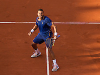 France, Paris, 30.05.2014. Tennis, French Open, Roland Garros, Jo-Wilfried Tsonga (FRA) celebrates his victory over Jerzy Janowicz (POL)<br /> Photo:Tennisimages/Henk Koster