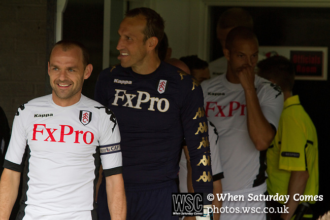 Crusaders 1 Fulham 3, 16/07/2011. Seaview Park, Europa League 2nd qualifying round first leg. Fulham captain Danny Murphy smiling as his team prepares to take to the pitch at Seaview Park, Belfast before their UEFA Europa League 2nd qualifying round, first leg match against Northern Irish club Crusaders. The visitors from England won by 3 goals to 1 before a crowd of 3011. Photo by Colin McPherson.