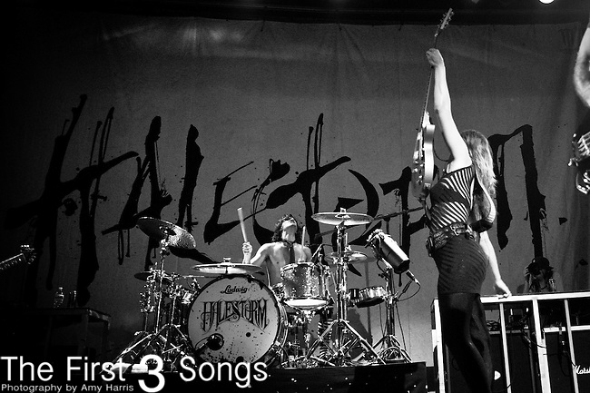 Arejay Hale and Lzzy Hale of Halestorm perform at Bogarts in Cincinnati, Ohio.
