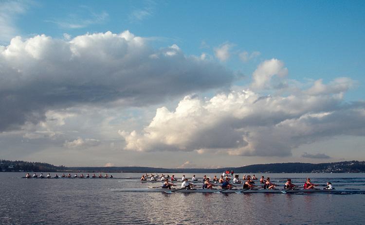 Seattle, rowers on Lake Washington, University of Washington women's rowing eights workout against the US National women's team,  UW men in four's, Bob Ernst, coach,.