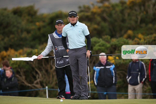 Eddie Pepperell (ENG) putting on the 8th during Round Three of the 2015 Dubai Duty Free Irish Open Hosted by The Rory Foundation at Royal County Down Golf Club, Newcastle County Down, Northern Ireland. 30/05/2015. Picture David Lloyd | www.golffile.ie