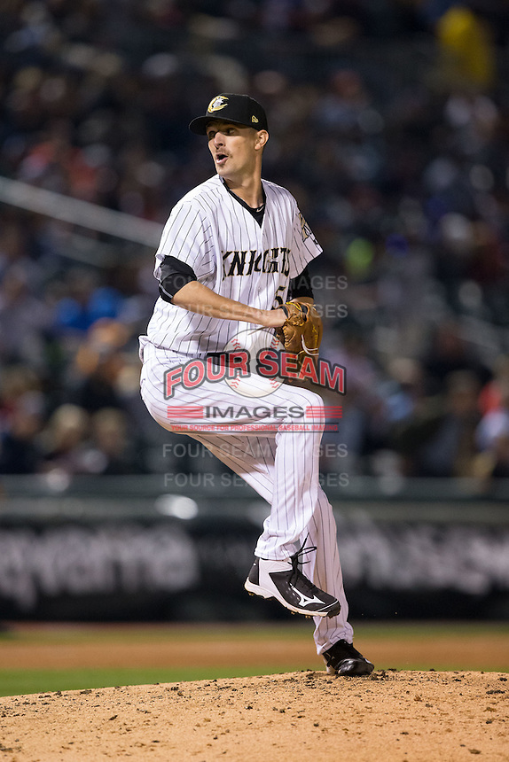 Charlotte Knights relief pitcher Will Lamb (15) in action against the Durham Bulls at BB&T BallPark on April 14, 2016 in Charlotte, North Carolina.  The Bulls defeated the Knights 2-0.  (Brian Westerholt/Four Seam Images)