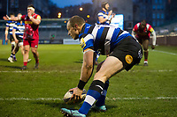 Jack Wilson of Bath United scores a first half try. Aviva A-League match, between Bath United and Harlequins A on March 26, 2018 at the Recreation Ground in Bath, England. Photo by: Patrick Khachfe / Onside Images