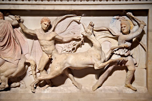 Greek relief sculpture of a hunt  on Alexander The Great ( Alexander III of Macedon )4th Cent BC. Sarcophagus calved from Pentelic Marble from the Royal Necropolis of Sidon, Chamber no.III, Lebanon. Istanbul Archaeological Museum Inv. 370T Cat. Mendel 68