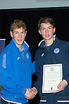 St Johnstone FC Youth Academy Presentation Night at Perth Concert Hall..21.04.14<br /> David Wotherspoon presents to Joeph Johnson<br /> Picture by Graeme Hart.<br /> Copyright Perthshire Picture Agency<br /> Tel: 01738 623350  Mobile: 07990 594431