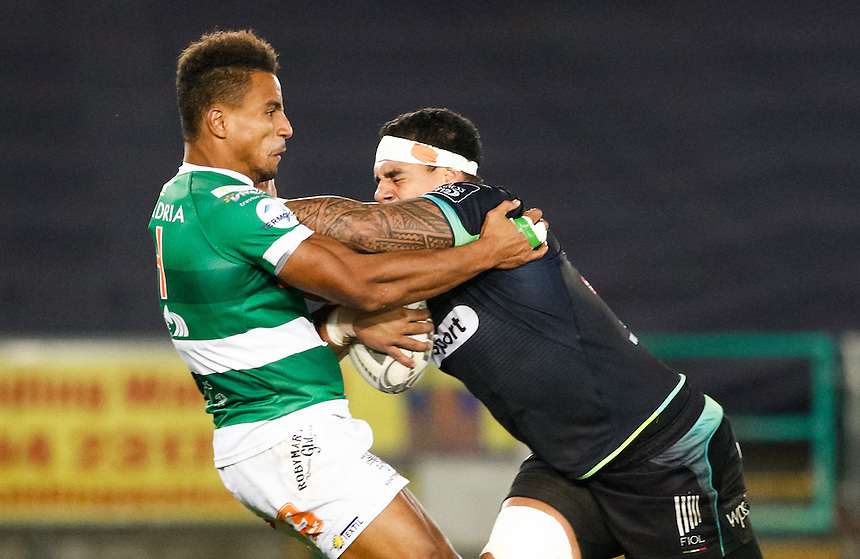 Josh Matavesi of Ospreys under pressure from David Odiete of Benetton Treviso<br /> <br /> Photographer Simon King/CameraSport<br /> <br /> Guinness PRO12 Round 3 - Ospreys v Benetton Rugby Treviso - Saturday 17 September 2016 - Liberty Stadium - Swansea<br /> <br /> World Copyright &copy; 2016 CameraSport. All rights reserved. 43 Linden Ave. Countesthorpe. Leicester. England. LE8 5PG - Tel: +44 (0) 116 277 4147 - admin@camerasport.com - www.camerasport.com