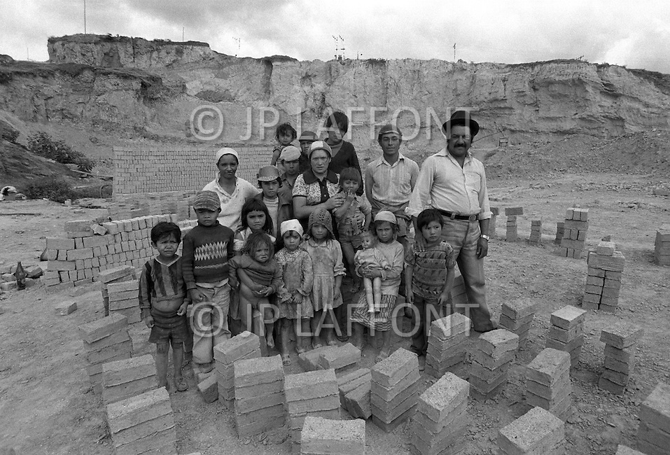 Children employed at a brick manufactuer outside Bogota, Colombia - Child labor as seen around the world between 1979 and 1980 – Photographer Jean Pierre Laffont, touched by the suffering of child workers, chronicled their plight in 12 countries over the course of one year.  Laffont was awarded The World Press Award and Madeline Ross Award among many others for his work.