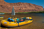 Rafts in the Colorado River at Lee's Ferry, Glen Canyon National Recreation Area, Arizona