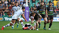 Northampton Saints's Teimana Harrison is tackled by Clermont Auvergne's Sitaleki Timani<br /> <br /> Photographer Stephen White/CameraSport<br /> <br /> European Rugby Challenge Cup - Northampton Saints v Clermont Auvergne - Saturday 13th October 2018 - Franklin's Gardens - Northampton<br /> <br /> World Copyright © 2018 CameraSport. All rights reserved. 43 Linden Ave. Countesthorpe. Leicester. England. LE8 5PG - Tel: +44 (0) 116 277 4147 - admin@camerasport.com - www.camerasport.com