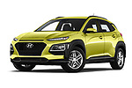 Stock pictures of low aggressive front three quarter view of a 2018 Hyundai Kona Twist 5 Door SUV