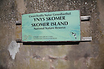 National nature reserve sign Skomer Island, Pembrokeshire, Wales