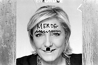 France. Ile de France. Paris. Campaign poster of French presidential election candidate Marine Le Pen for the far-right National Front (FN) party. A graffiti with the handwritten word: Merde ( Shit) and a drawing of an Adolf Hitler's  mustache. 22.04.17  © 2017 Didier Ruef