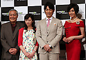 "May 31, 2016, Tokyo, Japan - Casts of Amazon Japan's original drama ""Hapimari, Happy Marriage!?"" (L-R) Takehiko Ono, Nana Seino, Dean Fujioka and Norika Fujiwara pose for photo at a promotional event for Amazon Prime Video in Tokyo on Tuesday, May 31, 2016. Amazon Japan announced they would increase original contents for Amazon' video distribution service in Japan.      (Photo by Yoshio Tsunoda/AFLO)"