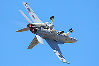 """Lt. Sarah """"Diamond"""" Rhoads executes a barrel roll on takeoff while flying a F/A-18F Super Hornet during the 2007 Wings Over the Wine Country Airshow in Santa Rosa California. The Boeing built 2 seat F/A-18F Super Hornet is 25% larger that its predecessor the F/A-18D Hornet and entered service with the US Navy in 1999 as a replacement for the F-14D Tomcat. Photographed 08/07"""