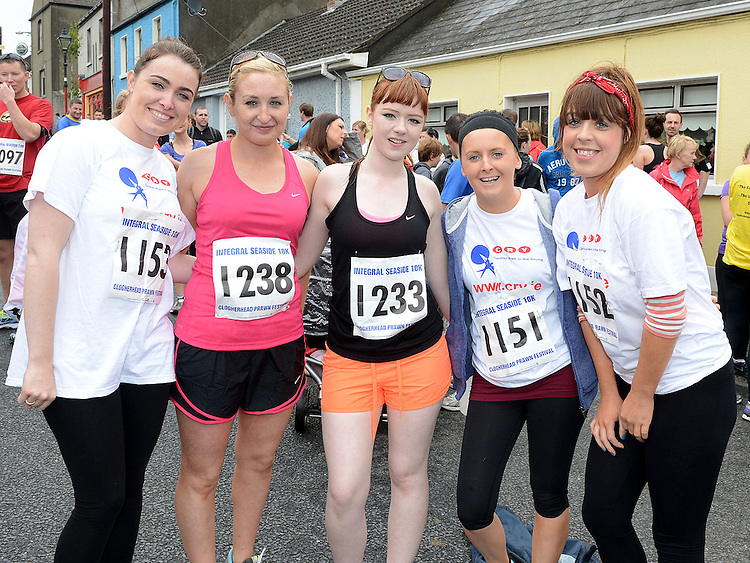 Yvonne Duffy, Andrea Cassidy, Jenny Noone, Andrea Byrne and Grainne Lenihan who ran the Integral Clogherhead 10K run. Photo:Colin Bell/pressphotos.ie