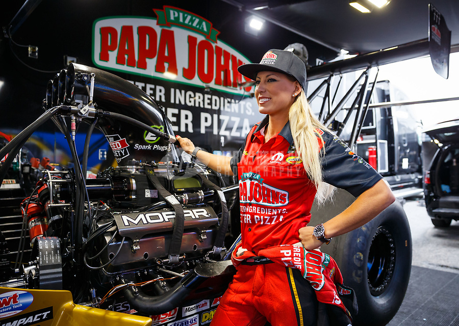 May 5, 2017; Commerce, GA, USA; NHRA top fuel driver Leah Pritchett in the pits during qualifying for the Southern Nationals at Atlanta Dragway. Mandatory Credit: Mark J. Rebilas-USA TODAY Sports