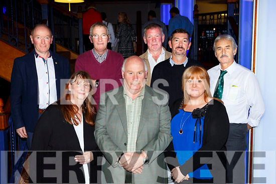 Nuala Cussack, Cjristopher Kelliher, Noele Broderick. Noel Lane, Johnny Stack, Johnn Lyons, Donal O'Shea, and Rodge Pyrne at the Ring of Kerry cycle cheque presentation in the INEC on Friday