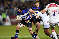 James Phillips of Bath Rugby takes on the Leicester Tigers defence. Anglo-Welsh Cup match, between Bath Rugby and Leicester Tigers on November 10, 2017 at the Recreation Ground in Bath, England. Photo by: Patrick Khachfe / Onside Images