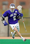 10 April 2007: Holy Cross Crusaders' Edison Parzanese, a Freshman from Edgartown, MA, in action against the University of Vermont Catamounts at Moulton Winder Field, in Burlington, Vermont. The Crusaders rallied to defeat the Catamounts 5-4...Mandatory Photo Credit: Ed Wolfstein Photo