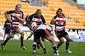 Tuaefe Palelei makes a strong run upfield during the Air New Zealand Cup rugby game between Counties Manukau Steelers & North Harbour, played at Mt Smart Stadium on Saturday 4th of  October 2008. After being tied up 14 all at halftime North Harbour went on to win 57 - 28.