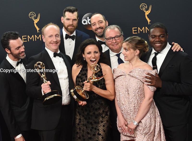 Julia Louis Dreyfus + VEEP cast @ the 2016 Emmy Awards held @ the Microsoft theatre. September 18, 2016