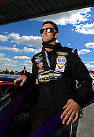 Sept 8, 2012; Clermont, IN, USA: NHRA pro stock driver Vincent Nobile during qualifying for the US Nationals at Lucas Oil Raceway. Mandatory Credit: Mark J. Rebilas-