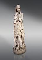 Roman statue of Nemesis goddess of  retribution.Marble. Perge. 2nd century AD. Inv no 6.29.81 .Antalya Archaeology Museum; Turkey.