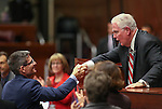 Nevada Republican Rep. Joe Heck talks with Assembly Speaker John Hambrick, R-Las Vegas, following his address at the Legislative Building in Carson City, Nev., on Monday, March 30, 2015. <br /> Photo by Cathleen Allison