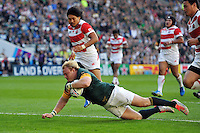 Adriaan Strauss of South Africa dives for the try-line. Rugby World Cup Pool B match between South Africa and Japan on September 19, 2015 at the Brighton Community Stadium in Brighton, England. Photo by: Patrick Khachfe / Onside Images