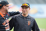 Norichika Aoki (Giants),<br /> MAY 7, 2015 - MLB : (L-R) Gregor Blanco and Norichika Aoki of the San Francisco Giants are seen before the Major League Baseball game at AT&amp;T Park in San Francisco, California, United States.<br /> (Photo by Thomas Anderson/AFLO) (JAPANESE NEWSPAPER OUT)