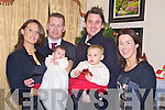 Baby Laura Jane Cremin, Ballaugh, Killarney, pictured with her parents Leanne and Paul, sister Ella, godparents Daniel O'Driscoll and Denise Hickey at her christening celebrations in Darby O'Gills Hotel, Killarney on Saturday.