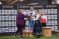 SPEEDSKATING: HAMAR: Vikingskipet, 29-02-2020, ISU World Speed Skating Championships, Allround, Podium 500m Ladies, Nana Takagi (JPN), Elizaveta Kazelina (RUS), Karolina Bosiek (POL), Erna Solberg (Statsminister Norge), ©photo Martin de Jong