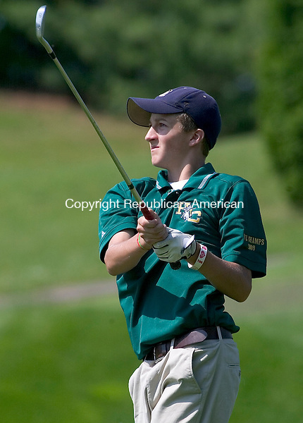 BERLIN, CT. 26 May 2010-052610SV07--Jason Hogan of Holy Cross High School watches his tee shot on the 16th tee during the NVL Golf Tournament at Timberlin Golf Course in Berlin Wednesday.<br /> Steven Valenti Republican-American