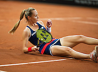 Februari 08, 2015, Apeldoorn, Omnisport, Fed Cup, Netherlands-Slovakia,   Magdaléna Rybáriková (SLO) falls to the clay<br /> Photo: Tennisimages/Henk Koster