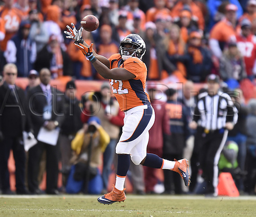 24.01.2016. Denver, Colorado, USA. The NFL AFC Championship American Football match. Broncos running back C.J. Anderson hauls in a Peyton Manning pass during the second quarter of the AFC Championship game on Sunday