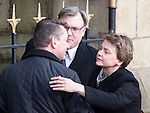 © Joel Goodman - 07973 332324 . 16/01/2014 . Salford , UK . Husband and wife Ed Balls , MP for  Morley and Outwood and Yvette Cooper , MP for  Normanton, Pontefract and Castleford , arrive at the funeral . arrives at the funeral . The funeral of Labour MP Paul Goggins at Salford Cathedral today (Thursday 16th January 2014) . The MP for Wythenshawe and Sale East died aged 60 on 7th January 2014 after collapsing whilst out running on 30th December 2013 . Photo credit : Joel Goodman