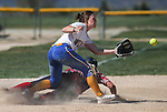 Colorado Northwestern's Courtney David slides safely under the tag of Western Nevada's Makaylee Jaussi during a college softball game at Edmonds Sports Complex Carson City, Nev., on Friday, April 17, 2015. WNC won both games 8-0, 11-3. <br /> Photo by Cathleen Allison/Nevada Photo Source