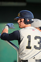 Outfielder Herman Petzold #13 of the Notre Dame Fighting Irish during the Big East-Big Ten Challenge vs. the Purdue Boilermakers at Al Lang Field in St. Petersburg, Florida;  February 19, 2011.  Notre Dame defeated Purdue 19-2.  Photo By Mike Janes/Four Seam Images