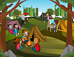 Illustration of children enjoying during camping