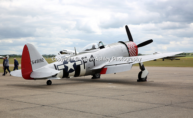 Republic P-47D Thunderbolt, 549192/F4-J, in USAAF markings at the 75th Anniversary of the D-Day Landings, Duxford, United Kingdom, 5th June 2019. Photo by Glenn Ashley Photography