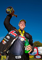 Sep 15, 2019; Mohnton, PA, USA; NHRA pro stock driver Jason Line celebrates after winning the Reading Nationals at Maple Grove Raceway. Mandatory Credit: Mark J. Rebilas-USA TODAY Sports