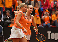 Netherlands, Den Bosch, April 18 2015 Maaspoort, Fedcup Netherlands-Australia,  Doubles:    Michaëlla Krajicek (R) and Richel Hogenkamp (NED) celebrate their win<br /> Photo: Tennisimages/Henk Koster